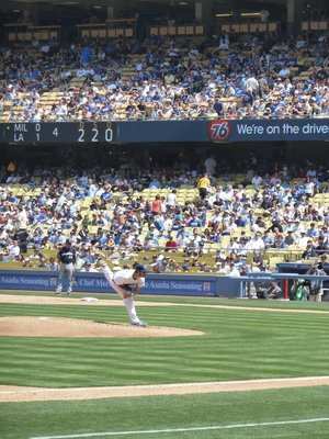 Close up of the LA Pitcher pitching the ball