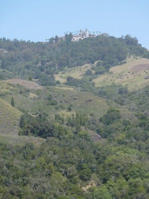 The view of Hearst Castle from the approach road
