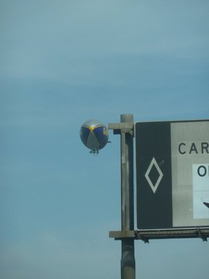 The Goodyear Blimp takes off near the I405 Freeway