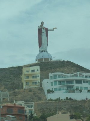 Christ of the Sacred Heart Statute above the highway at El Morro