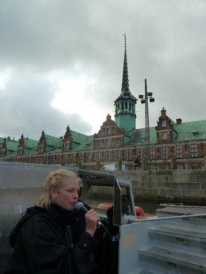 Our tour guide on the mic by the Danish Parliament (Christiansborg Palace)