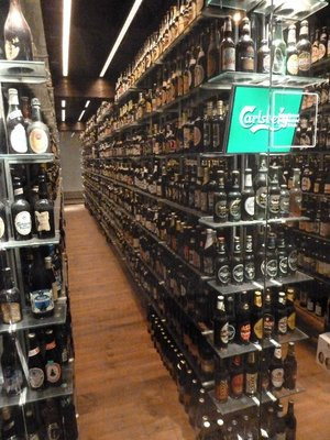 Part of the bottle collection on display at the Carlsberg Brewery