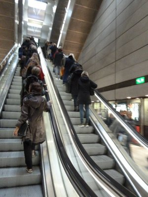 Escalators at a Copenhagen Metro Station