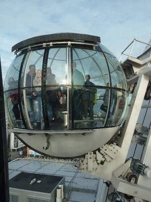 Passing the other gondola half way up the Ericsson Globe