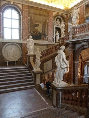 The main staircase inside Drottningholm Palace