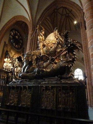 St George slaying the Dragon statue inside Storkyan (Stockholm Cathedral)