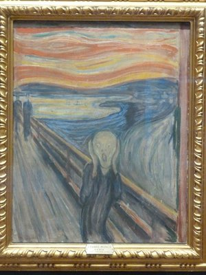 Edward Munch's 'The Scream' (1893) on display in the Nasjonalgalleriet - the most famous art work in the collection