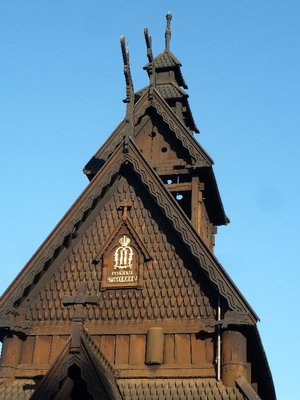 Detail from the spire of the Stave Church at the Norsk Folkemuseum