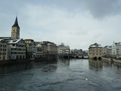 River Limmat flowing through the old part of Zurich just before it reaches the lake