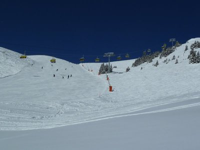 Cable Cars and Skiers near Kleine Scheidegg