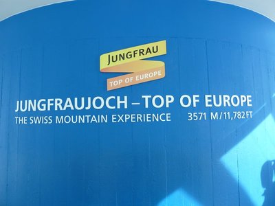 Sign at the Sphinx Vantage Terrace at Jungfraujoch