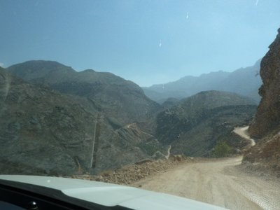 The road ahead climbing the Snake Pass in the Western Hajar Mountains