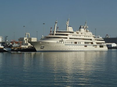 The Sultan of Oman's Royal Yacht in Mutrah Harbour