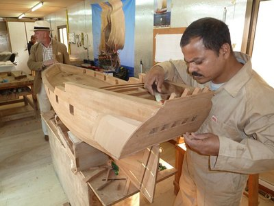Intricate craftsmanship on a model of an Arab Dhow