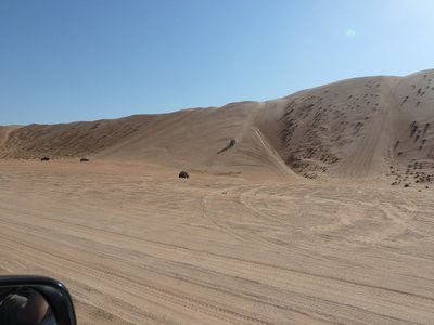 Wrangler Jeeps doing a spot of sand dune climbing