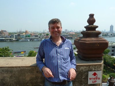 Me on the top of Wat Arun with Wat Pho in the background