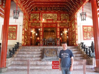 Me in front of the throne room at the Royal Residence