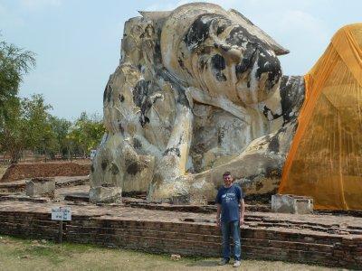 Me by the Reclining Buddha at Wat Lokayasutharam