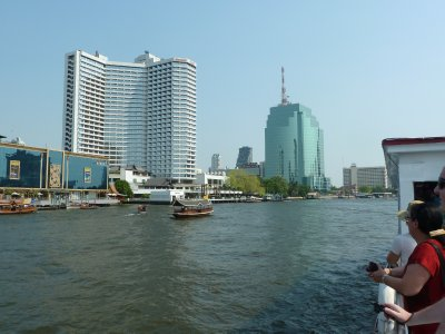 View from aboard a ferry on the Phraya River