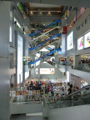 Inside the MBK Center, escalators everywhere and you can not see all the floors!