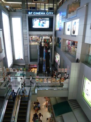 The escalators to the lower floors of the MBK Center