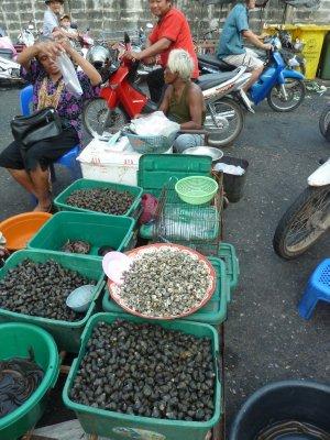 Fresh Shellfish on sale at Nakhon Na Yok Market
