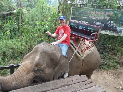 Me feeling cool on the back of Cherry the Elephant