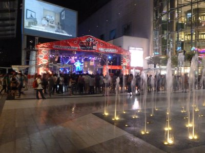 Free Concert underway by the dancing fountains between the Siam Center and Siam Paragon Shopping Malls
