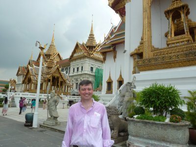 Me outside the Chakri Maha Prasat and Dusit Maha Prasat Hall at the Grand Palace Complex in Bangkok