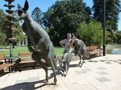 Me by the Mob of Kangaroo Statues on St George's Terrace, Perth