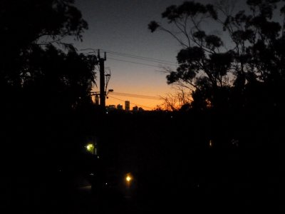 Sunset over the Perth City Skyline from Maylands