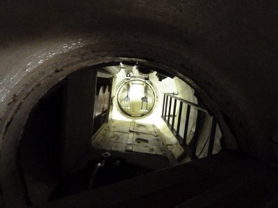 Looking up inside the Coning Tower within HMAS Ovens