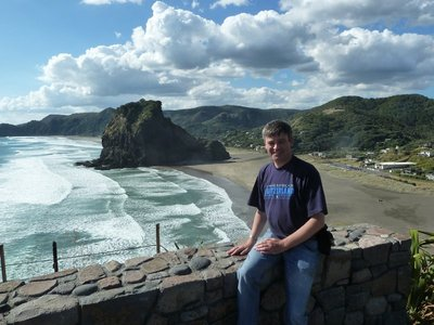 Me sat at the Lookout overlooking Piha Beach and Lion's Rock