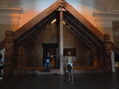Maori Meeting House - complete with posing Maori warrior!