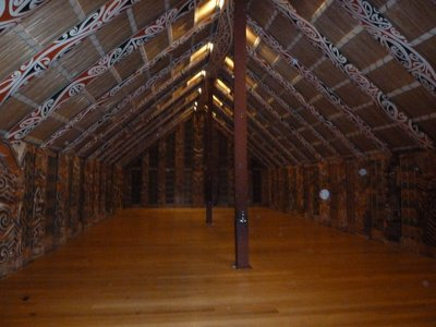 Inside the Maori Meeting House