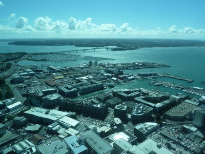 The view north west of the Harbour Bridge from the Skytower Main Observation Level