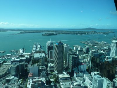 The view north east of the Downtown CBD and Rangitoto from the Skytower Main Observation Level