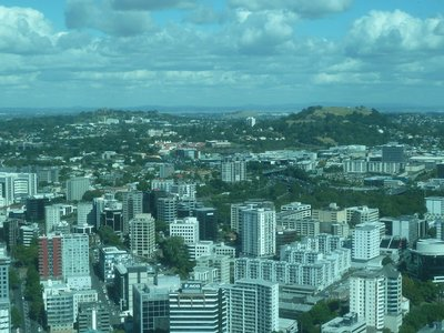 The view south of Mount Eden and One Tree Hill from the Skytower Main Observation Level