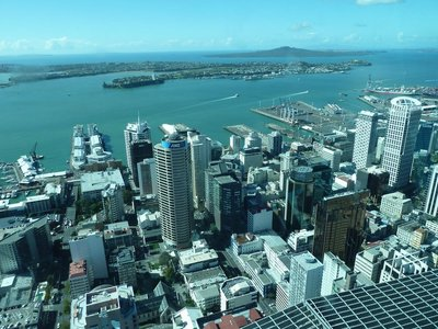 The view north of Downtown Auckland and Waitemata Harbour from the Skytower Sky Deck, the highest level accessible by the public
