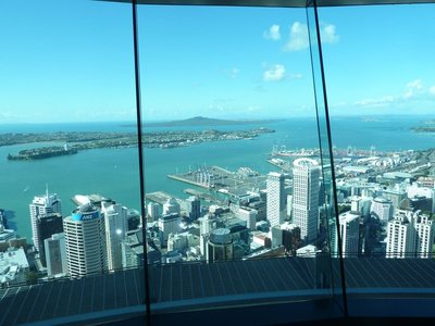 The awesome view across Downtown Auckland towards Rangitoto from the Skytower