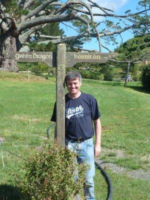 Me at the road sign leaving Hobbiton