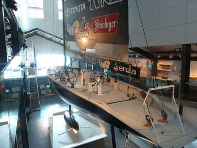 "New Zealand's 1995 America's Cup winning yacht NZL32 ""Black Magic"" in the NZ Maritime Museum"