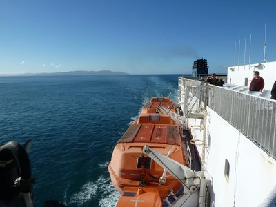 Our Ferry leaves North Island in its wake as we cross the Cook Strait