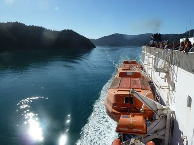 The Kaitaki sails down Queen Charlotte Sound on South Island - awesome!