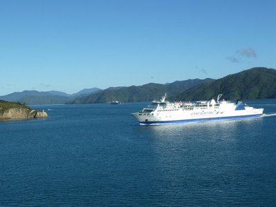 Passing other ships in Queen Charlotte Sound on our way to Picton
