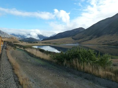 The train passed and crossed many mountains, lakes and deep gorges as we crossed the Southern Alps