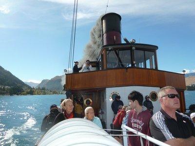 TSS Earnslaw at full steam across Lake Watatipu