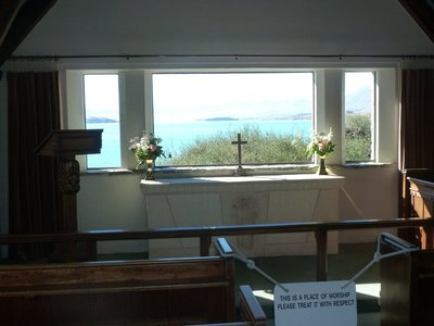 The view behind the alter at the Church of the Good Shepherd at Lake Tekapo