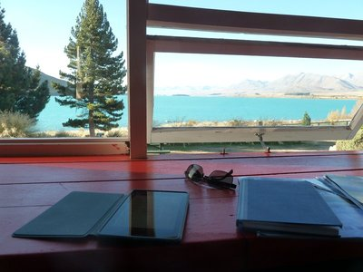 The view from my where I did my blogging at Lake Tekapo YHA :-)