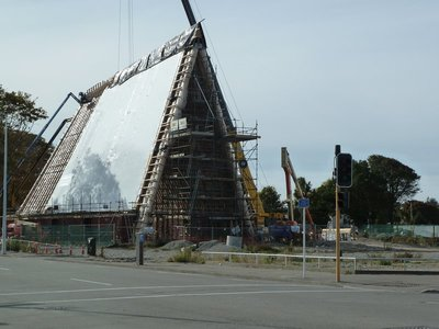 The transitional cardboard cathedral under construction